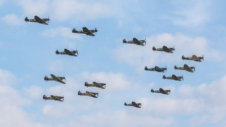 The 'Big Wing' – 11Spitfires and four Hurricanes fly in the formation adopted by RAF squadrons in the summer of 1940.