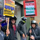 Hackney food delivery drivers protesting outside the McDonald's on Kingsland Road.