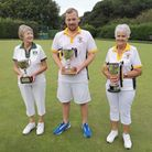The championship winners at Clarence Bowls Club face the camera