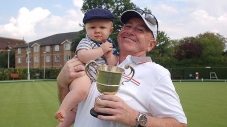 Potters Bar Bowls Club's Paul Stevens, with his grandson,was the winner of the Partridge Cup.