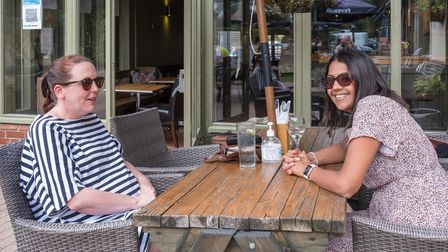 Two women smiling at The Plough, Great Chesterford