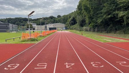 Floodlights have been installed at the school's athletics track.