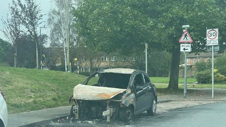Remains of a car which was set on fire in Hatfield last week.