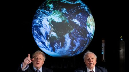 Prime minister Boris Johnson (left) and Sir David Attenborough at the launch of the next COP26 UN Cl