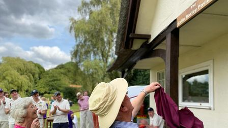 Janet Bazley and Richard Carter at Clavering Cricket Pavilion for the rededication of The Colin Bazley Pavilion