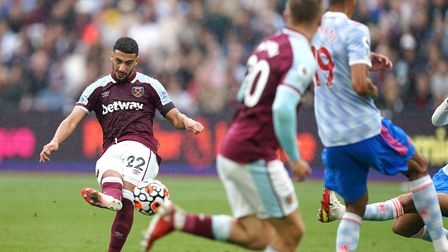 West Ham United's Said Benrahma (left) scores their side's first goal of the game during the Premier