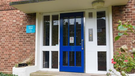 The main enterance into a block of flars on Cherry Close, Lakenham, which was recently broken into.