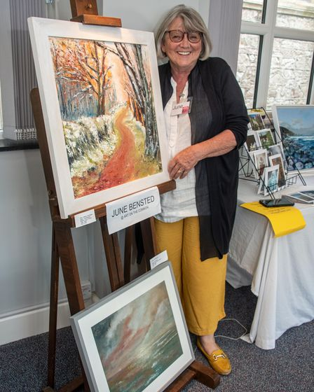 Artist June Bensted at Venue 10 Holy Trinity Church, Cleeve. North Somerset Arts Week.