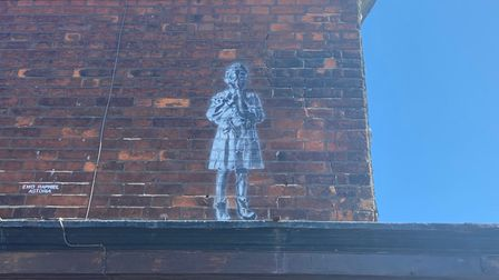 New Banksy-style figure St Peter's Road Great Yarmouth