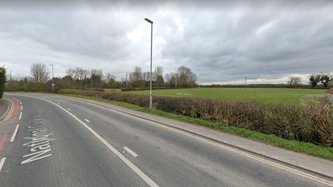 Site of the planned new roundabout on the A38 Huntspill Road near Highbridge.