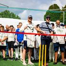 Ardleigh Green and Havering-Atte-Bower cricket club members at theofficial opening of the net facilities at Central Park.