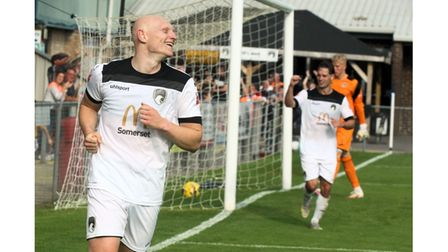 Lloyd Humphries celebrates scoring one of his two Weston AFC goals.
