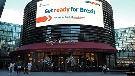 An electronic display showing a 'Get ready for Brexit' Government advert in London. Photograph: Yui