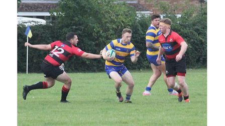 Clevedon RFC's Will Carpenter during their match with Gordano RFC.