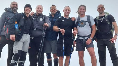 The team at the summit of Scaffel Pike.