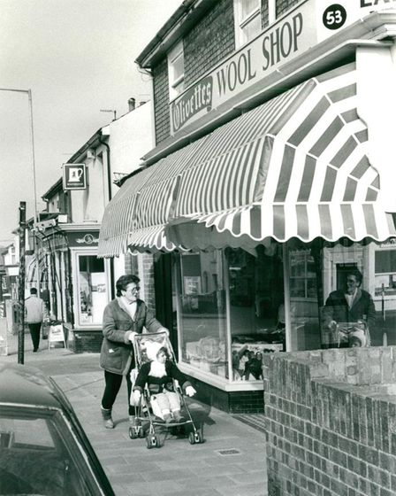 A view of Bells Road's shopping street in Gorleston. Date: 9 Mar 1987.