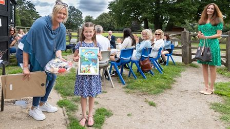 Prize winner Isabella Groverwith Amanda Morrall from Digswell Place Group Riding for the Disabled Association.