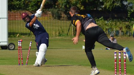 Eaton Socon take a wicket in style during their East Anglian Premier League play-off defeat at Witham.