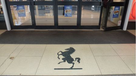 The mosaic outside the now closed Debenhams store in Norwich depicting the spot of the former Rampant Horse pub