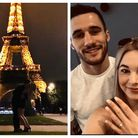 Liam Goddard and new fiance Kimberley Page, who got engaged in front of the Eiffel Tower in Paris