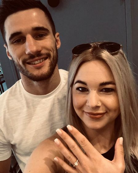 Boxing champion Liam Goddard with his fiance Kimberley Page