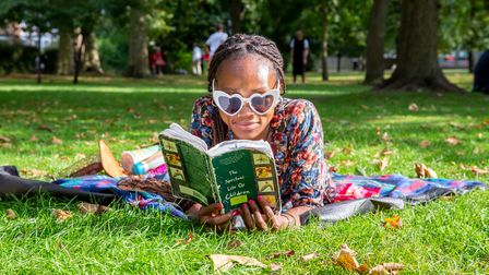 Taking five minutes between programmes at the Queen's Park Book Festival