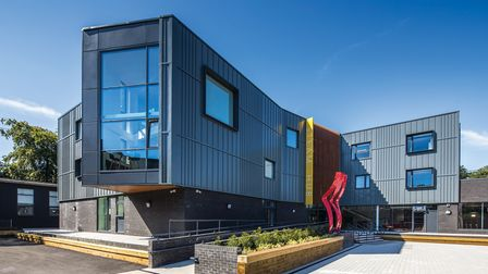 Modern building and facilities at Talbot Heath Sixth Form in Bournemouth, Dorset.