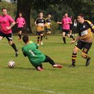 Craig Clark scoresfor Beehive against Oaks in the Herts Ad Sunday League.