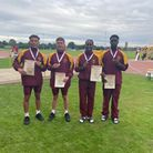 Havering AC's Brendan Burgess, Jacob Blanc and Ayo Babatunde with fellow team mate Elliot Chew