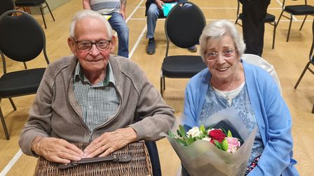 A presentation was held for outgoing Happisburgh Coast Watch controller Fred Rendell, pictured here with wifeMay,