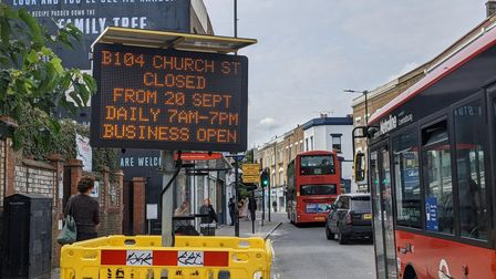 Signs in advance of the opening of Stoke Newington Low Traffic Neighbourhood.