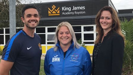 James Dowler, Beth Williamson and Lisa Plowman of King James Academy in Royston.