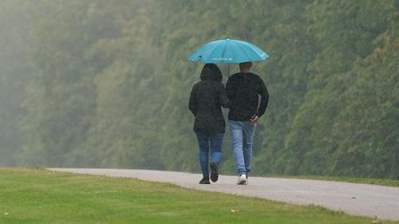 People walking along the Long Walk in Windsor, Berkshire in the rain. Picture date: Sunday September