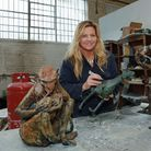Emma Rogers with smaller works, including monkey mother and child use in Marvel movie Guardians of the Galaxy