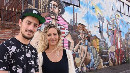 Amy Hancock, Lacons head of marketing, and Ruben Cruz, founder of the Reprezent Project, by the new
