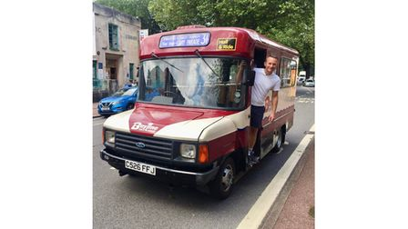 Man with old minibus