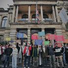 Campaigners demonstrate outside Old Town Hall Stratford against plans to close Newham City Farm