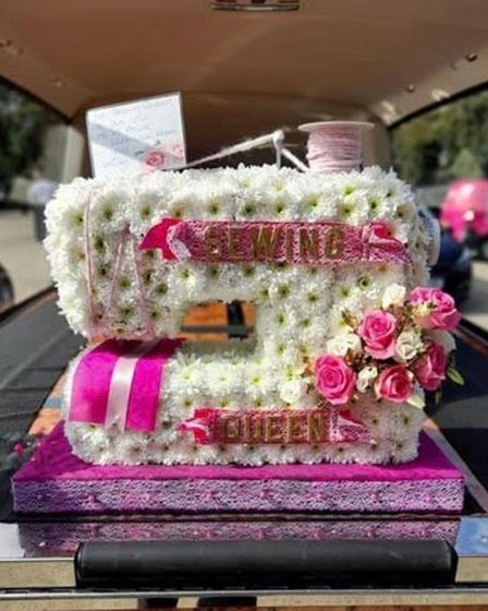 A sewing machine floral tribute to Belvinder Kaur