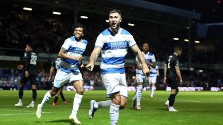 Queens Park Rangers' Charlie Austin celebrates scoring their side's first goal of the game during th