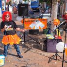 Mervyn Gratton sings in the Market Place to raise funds for Stand Up To Cancer