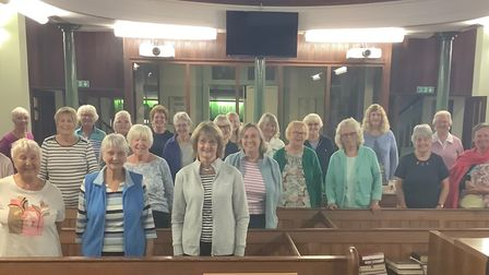 Riviera SIngers'first rehearsal in Brixham - not all the choir have returned yet.