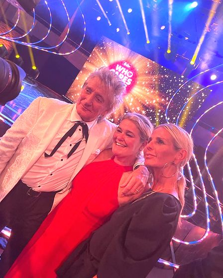 Rod Stewart and Ulrika Jonsson either side of Annie Aris from Saffron Walden at The Sun Who Cares Wins awards in Camden