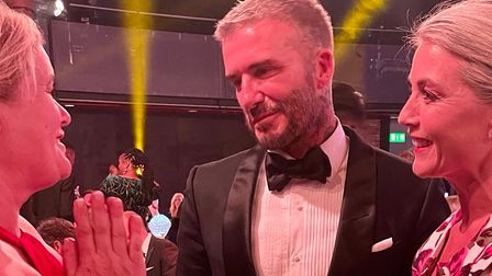 Annie Aris talks to David Beckham at The Sun Who Cares Wins awards at The Roundhouse in Camden