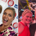 Composite image: Left - two people smile with an award, Right - Annie Aris with Gary Lineker at The Roundhouse, Camden