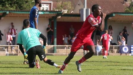 Jili Buyabu of Hornchurch scores the second goal for his team and celebrates during Hornchurch vs Wa