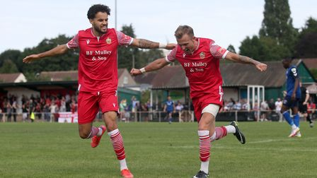 Liam Nash of Hornchurch scores the third goal for his team and celebrates during Hornchurch vs Walth