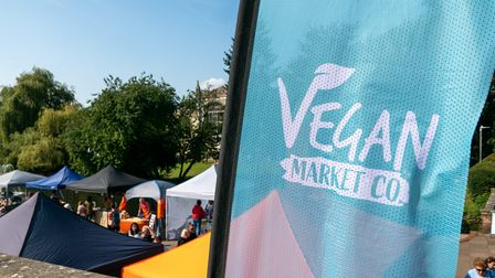Visitors to the Hitchin Vegan Market in Hitchin, Hertfordshire on the 18th September, 2021. Picture: