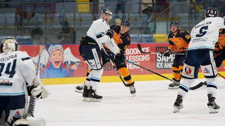 Raiders captain Aaron Connolly shoots against Sheffield Steeldogs at the Sapphire Ice and Leisure Centre