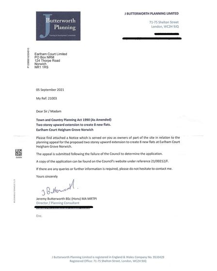 The letter delivered to the building's managing agents outlining the developer's appeal