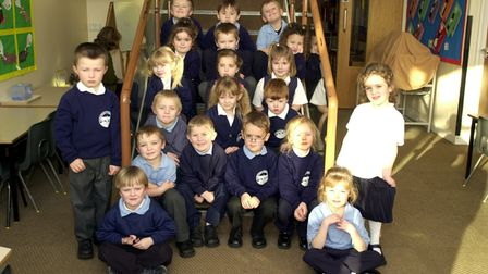 Hadleigh Primary School pupils smile for the camera